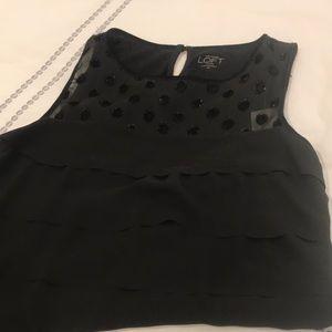 LOFT Tops - Loft Black Sleeveless Blouse with Velvet Details